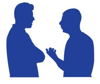 Men chatting silhouette illustration