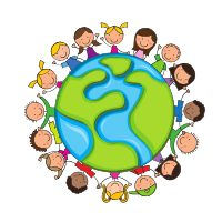 Multicultural children around the world illustration