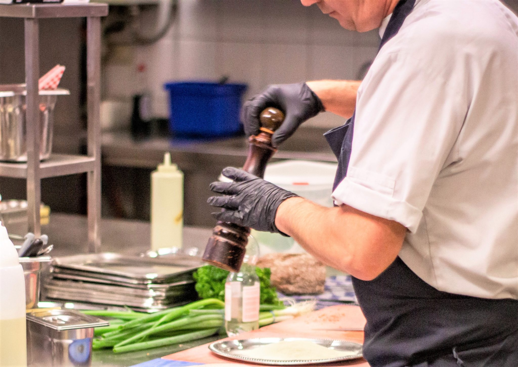 Person in commercial kitchen